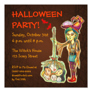 Skinny Witch Halloween Party Invitation - Brown