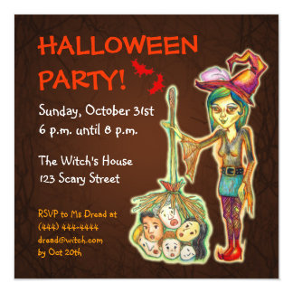 Skinny Witch Halloween Party Invitation - Brown 2