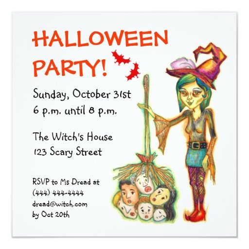 """Skinny Witch Halloween Party Invitation Card 5.25"""" Square Invitation Card"""