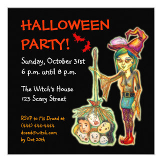 Skinny Witch Halloween Party Invitation Card:Black