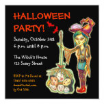"""Skinny Witch Halloween Party Invitation Card:Black 5.25"""" Square Invitation Card"""