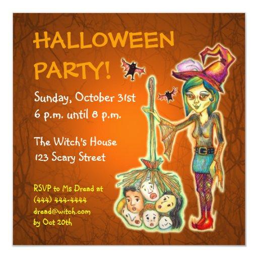 Skinny Witch Halloween Party Invitation - Orange