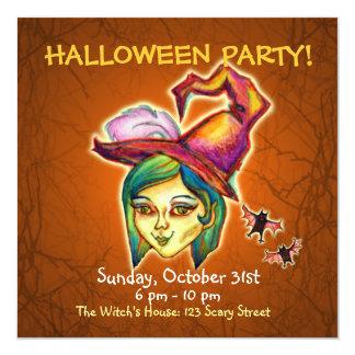 Skinny Witch Halloween Party Invitation - Orange 2
