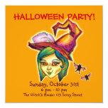 "Skinny Witch Halloween Party Invitation [Pumpkin] 5.25"" Square Invitation Card"