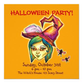 Skinny Witch Halloween Party Invitation [Pumpkin]