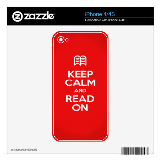 Skins and Covers - Keep Calm and Read On iPhone 4 Decals