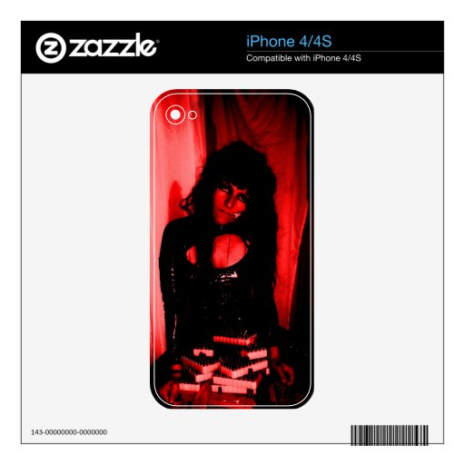 skins phone goth girl red blood leather skins for the iPhone 4
