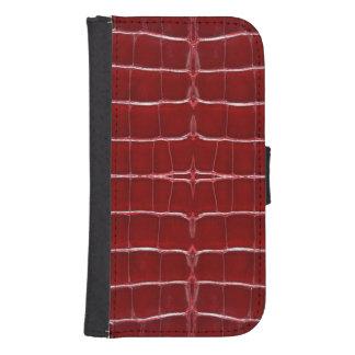Skinz 1 ROJO de cuero de la piel del lagarto Funda Tipo Billetera Para Galaxy S4