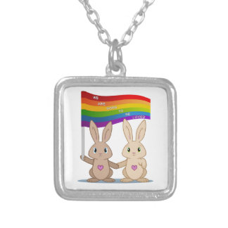 Skip & Pip (aka the Pride Bunnies) Silver Plated Necklace