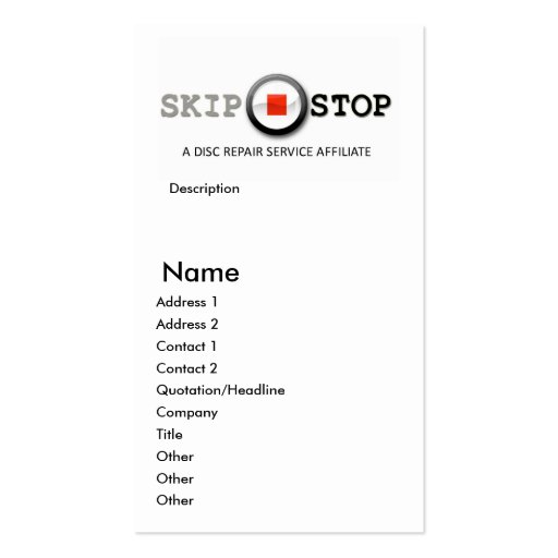 SKIP-STOP Affiliate Business Card