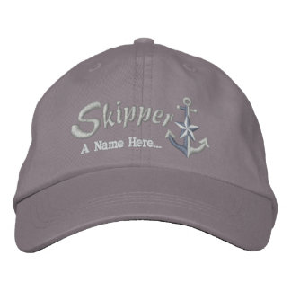 Skipper Customizable with Your Text Star Anchor Embroidered Baseball Hat