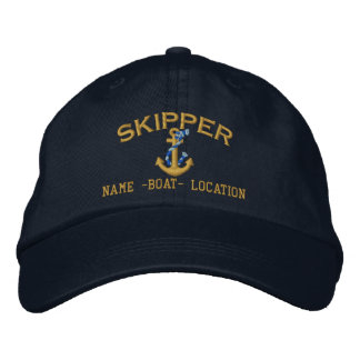 Skipper Golden Rope Anchor Your Boat Name or Both Embroidered Baseball Cap