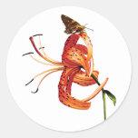 Skipper on Orange Tiger Lily Classic Round Sticker