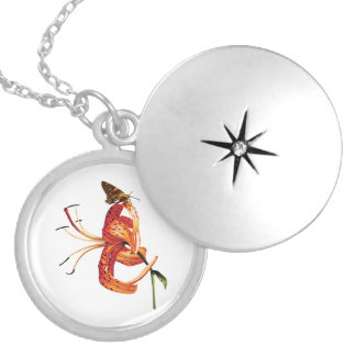 Skipper Orange Tiger Lily Silver Plated Necklace