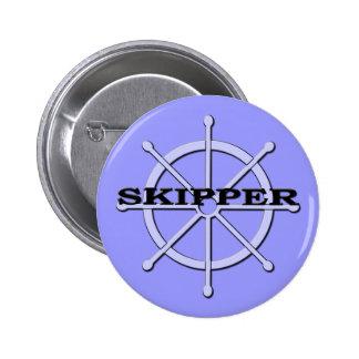 Skipper Ship Wheel Pin Back Button 2