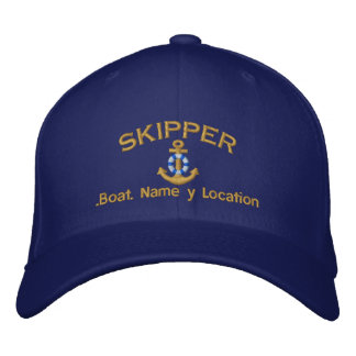 Skipper Style Your Boat Name Your Name or Both Embroidered Baseball Hat