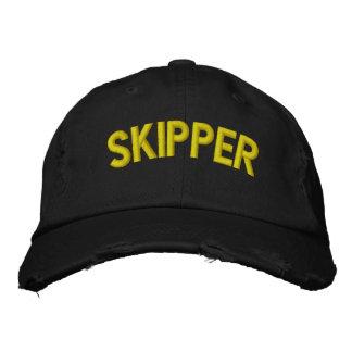 Skipper text for sailing or sports teams baseball cap
