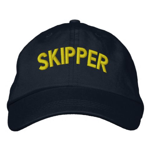 Skipper text for sailing or sports teams embroidered baseball cap