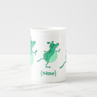 Skipping fun green alien tea cup