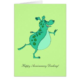Skipping Green Alien - Happy Anniversary Darling Card