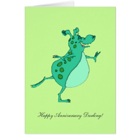 Skipping Green Alien - Happy Anniversary Darling Card