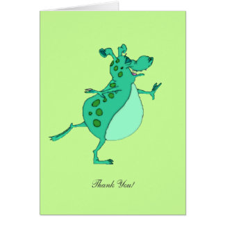 Skipping Green Alien - Thank You Greeting Card
