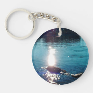 Skipping Rocks On A Bright Sunny Lake Photo Keychain