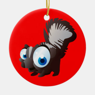 Skippy The Skunk Double-Sided Ceramic Round Christmas Ornament