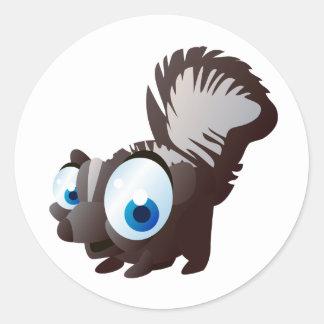 Skippy The Skunk Round Sticker