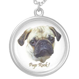 Skippy's Pugs Rock Round Pendant Necklace