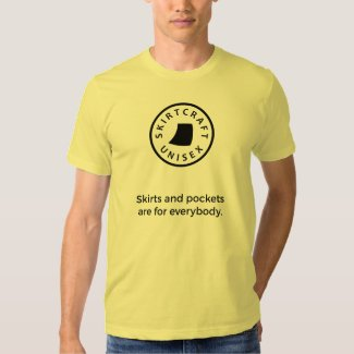Skirts and Pockets Are for Everybody T-Shirt - men's style with black graphics