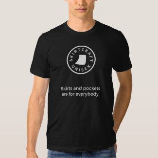 Skirts and Pockets Are for Everybody T-Shirt - men's style with white graphics