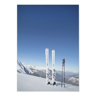 Skis and Ski Poles Personalized Invites