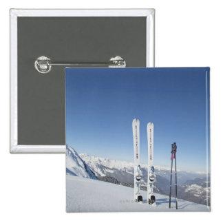 Skis and Ski Poles Pinback Button