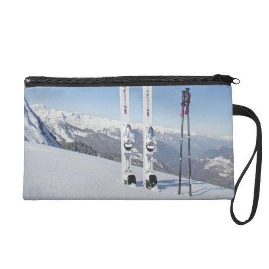 Skis and Ski Poles Wristlet Purse