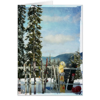 Skis and Snowboards on Mountain Top Greeting Card