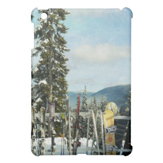Skis and Snowboards on Mountain Top iPad Mini Case