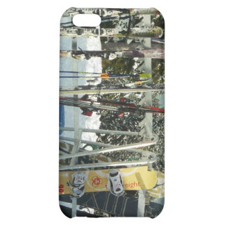 Skis and Snowboards on Mountain Top iPhone 5C Case
