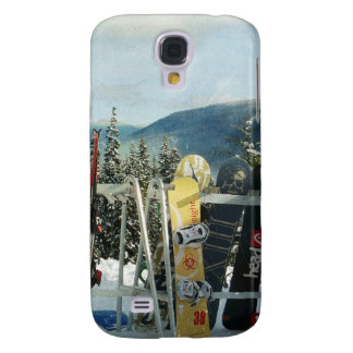 Skis and Snowboards on Mountain Top Samsung Galaxy S4 Cover