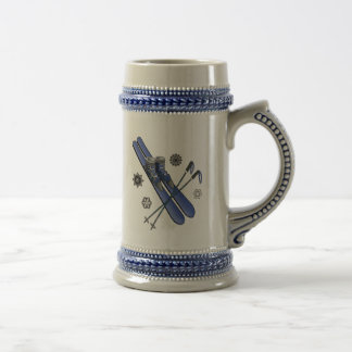 Skis, Boots, Poles and Snowflakes 18 Oz Beer Stein
