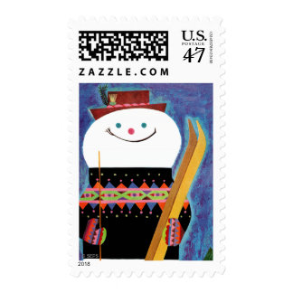 Skis for Snowman Postage