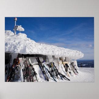 Skis in a ski resort, Lapland poster