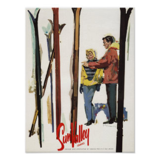 Skis Standing Up in Snow by Couple Poster
