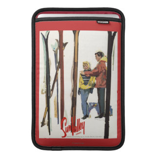 Skis Standing Up in Snow by Couple Poster MacBook Air Sleeve