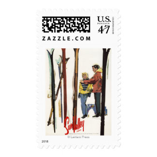 Skis Standing Up in Snow by Couple Poster Postage