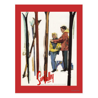 Skis Standing Up in Snow by Couple Poster Postcard