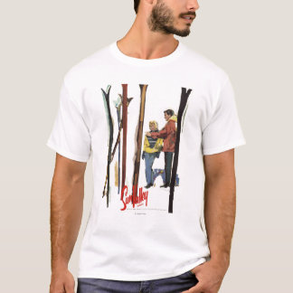 Skis Standing Up in Snow by Couple Poster T-Shirt