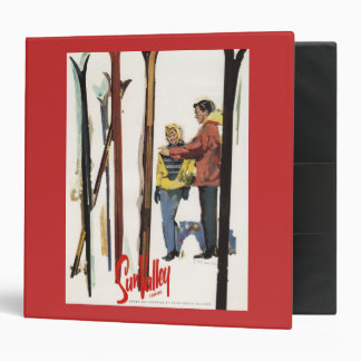 Skis Standing Up in Snow by Couple Poster Vinyl Binders