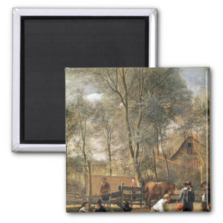 Skittle Players outside an Inn, c.1660-63 2 Inch Square Magnet