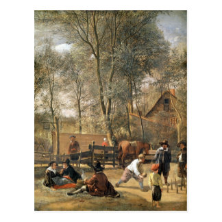Skittle Players outside an Inn, c.1660-63 Postcard